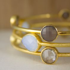 Set of Gemstone Bangles - Grey Chalcedony, White Opalite, Crystal Quartz - Stacking Bangles
