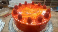 Lemon razz mirror cake