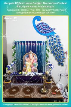 Anuja Mahajan Page on Ganpati.TV where all Ganpati festival decoration pictures and videos are shared. Gauri Decoration, Mandir Decoration, Thali Decoration Ideas, Ganapati Decoration, Diwali Decorations, Festival Decorations, Flower Decorations, Decor Ideas, Flower Decoration For Ganpati