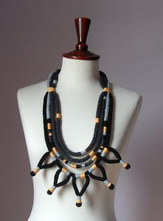 Knitted Necklace Grey Gray Black Orange  Fiber Art by Silvia66, $123.00