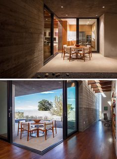 Specht Architects have recently completed this modern house in Santa Fe, New Mexico, that's organised around two perpendicular board-formed concrete walls. Concrete Bench, Concrete Houses, Outdoor Dining, Dining Area, Dining Rooms, Santa Fe Home, Image Deco, Sliding Glass Door, Sliding Doors