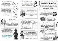 Spelling leaflet - A leaflet containing activities children can do in order to make practising their spellings more enjoyable and varied.