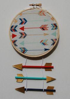 Little Warrior Mini Hoop in Primary & Gold by slateandsage on Etsy