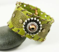 """Hand Crafted """"Connection Cuff"""" - Leather from a loved ones belt or jacket. I provide the Art by Whim Originals 