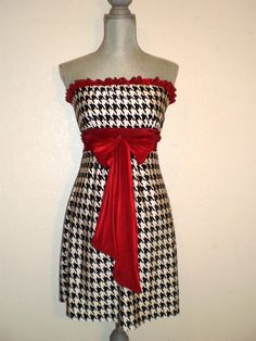 Bama hounds tooth Gorgeous Gameday Dress for tailgating Roll Tide style. $80.00, via Etsy.