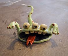 """Pinch Pot Monster from Jenni Ward's """"Create with Clay 2"""" ebook. See photo tutorial."""