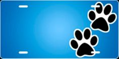 Blue Paws Airbrush License Plate