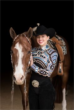 Cowgirl Outfits, Western Outfits, Horse Show Clothes, Horse Clothing, Riding Clothes, Reining Horses, Breyer Horses, Black Background Portrait, Western Show Shirts