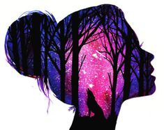 Fabulous Silhouette Painting by Danielle Foye. UK based self employed artist Danielle Foye, has an eye for creating a wide range of watercolor paintings and designs. Cute Galaxy Wallpaper, Cute Wallpaper Backgrounds, Wallpaper Art, Colorful Wallpaper, Art Drawings Sketches, Cute Drawings, Beautiful Drawings, Beautiful Pictures, Artist Painting