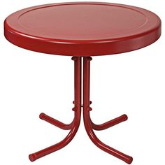 Crosley Astor Coral Red Powdercoat Round Outdoor Side Table ($35) ❤ liked on Polyvore featuring home, outdoors, patio furniture, outdoor tables, red, outdoors patio furniture, outdoor patio furniture, round lamp table, red side table and round patio table