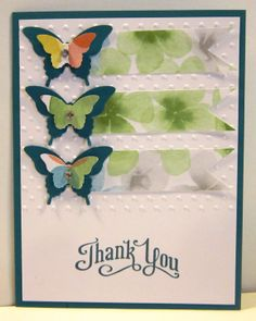 """Perfectly Penned Stamp Set """"Thank You"""" Island Indigo Whisper White Watercolor Wonder DSP Elegant Butterfly Punch Bitty Butterfly Punch Polka Dot Embossing"""