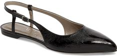 Agl Slingback Flat in Black. Supple patent leather and a slender slingback make these versatile, pointy-toe flats shine.. #shoes#fashion#style#stylish#trendy