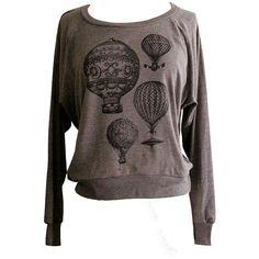 Hot Air Balloon Raglan Sweatshirt - Vintage Steampunk Balloons Sweater... (€24) ❤ liked on Polyvore featuring tops, hoodies, sweatshirts, shirts, sweaters, steampunk, sweats, black shirt, checkered shirt и vintage style shirts