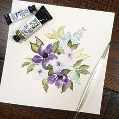 Happy hump day all! It's a wet and cloudy one here, but everything is turning GREEN and I am thrilled!! Make today a good one! ... ... #springtime #dustypurple #danielsmith #underseagreen #moonglow #florals #vintageflorals #vinatge #eucalyptus #floraldesign #watercolorflorals #watercolorart #artlicensing #expressyourself #rva #rvaartist #inspiration #floralart #artistsofinstagram