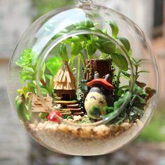DIY Glass Ball Dollhouse Miniature Totoro Dollhouse Kit Handcraft Kit Gifts Kids Women Toy Assembly Dollhouse Model Kit DIY Gift Valentine (294.60 HKD) by UniTime