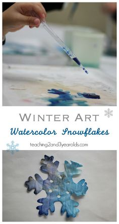 Art therapy activities preschool Add some fine motor to your winter art table with these easy watercolor snowflakes. They look lovely hanging in the classroom and at home! Preschool Fine Motor Skills, Preschool Art, Preschool Activities, Preschool Classroom, Educational Activities, Preschool Letters, Preschool Curriculum, Homeschooling, Thema Winter Im Kindergarten