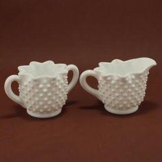 Fenton Star Hobnail Milk Glass Creamer Sugar Vintage by CharmingsVintageCollectibles for $12.00
