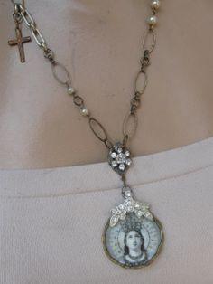 Radiance ... vintage paste Madonna assemblage necklace