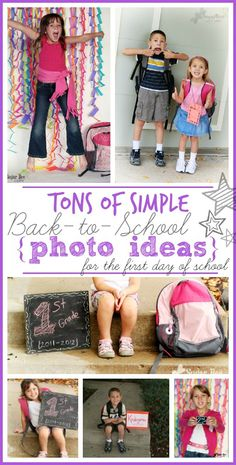 tons of SIMPLE back to school picture photo ideas - - these are all totally doable and easy - great list of ideas