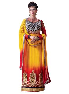 Buy Yellow N Red Embroidered Straight Suit online from the wide collection of Salwar Kameez.  This Yellow,  Red  colored Salwar Kameez in Net  fabric goes well with any occasion. Shop online Designer Salwar Kameez from cbazaar at the lowest price.