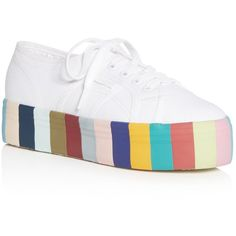 Superga Women's Lace Up Rainbow Platform Sneakers (795 MAD) ❤ liked on Polyvore featuring shoes, sneakers, white multi, platform lace up shoes, rainbow shoes, platform shoes, white platform sneakers and white trainers