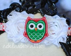 Holiday Christmas Owl Damask Rosette Baby by DirectorJewels. Shop Handmade this holiday Season!