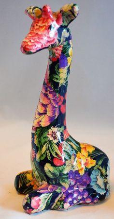 Patchwork Ceramic Giraffe 4 in x 6 in x 10 3/4 in Ceramic Clay China