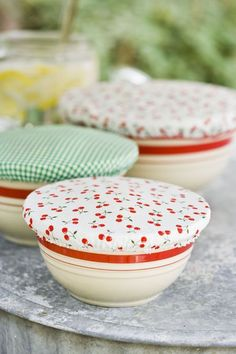 diy bowl covers - wash, recycle, reuse! save on plastic wrap/foil and lots of good DIYs on this site!