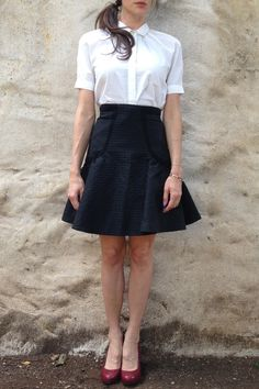 DIANE VON FURSTENBERG (DVF) SKIRT @Michelle Flynn Coleman-HERS - take away the white blouse and you don't have to look like a school girl, the skirt works