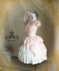 New Romantic Rococo Lolita Victorian Palatial Retro Collar & Sleeves Two-Way Plump Bustle Dress