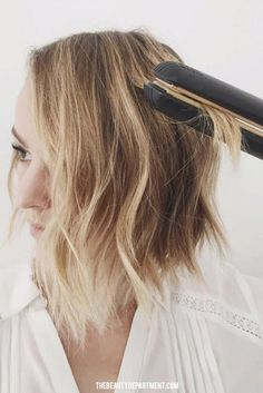 Flat Iron Wave Trick // // There's something about relaxed, undone waves on shorter lengths that just feels incredibly chic.