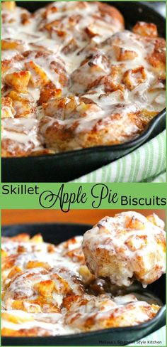 "Skillet Apple Pie Biscuits ~ Let's Bake something New & Yummy! A new recipe … Skillet Apple Pie Biscuits ~ Let's Bake something New & Yummy! A new recipe addition to the ""Recipes From Hattie's Farm Kitchen"" ~ Iron Skillet Recipes, Cast Iron Recipes, Skillet Meals, Skillet Cooking, Electric Skillet Recipes, Cast Iron Skillet, Breakfast Desayunos, Breakfast Recipes, Breakfast Skillet"