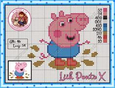 Ateliê Ponto & Patch: Peppa E George Pig em Ponto Cruz