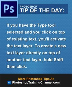 If you have the Type tool selected and you click on top of existing text, you'll activate the text layer. To create a new text layer directly on top of another text layer, hold Shift then click.