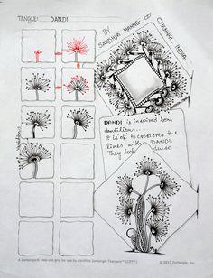 1/1, Tangle - DANDI, by Sandhya Manne, Certified Zentangle Teacher, zentempletangles.com