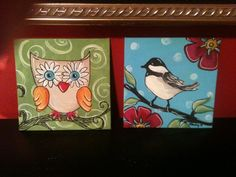 Acrylic Painting Ideas | painted these two cute little paintings for birthday gifts.