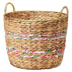 Lilly Pulitzer for Target Woven Basket with Fabric Bands and Gold Rim - 17