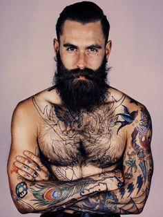 Ricki Hall - Beard in Somerset House Piercings, Ricki Hall, Hirsch Tattoo, Sparrow Tattoo, Style Hipster, Sexy Beard, Epic Beard, Inked Men, Inked Guys