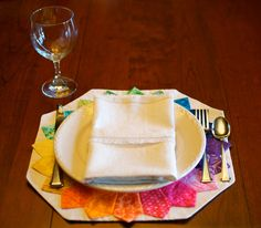 Quilted Placemats SET OF 2 in Dresden Plate Color Wheel Inspired Multi Rainbow Printed Graphic and Floral Cotton on Natural Linen-Look. $28.00, via Etsy.