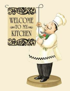 quenalbertini: Chef mini flag by Vicky Howard Decoupage Vintage, Decoupage Paper, Chef Kitchen Decor, Kitchen Art, Chef Pictures, Diy And Crafts, Paper Crafts, Decoupage Printables, Food Illustrations