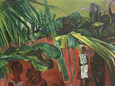 "blastedheath: ""John Minton (English, Jamaican Landscape, Oil on canvas, 82 x 102 cm. History Of Illustration, Illustrations, John Minton, Jamaican Art, Caribbean Art, English Artists, A Level Art, Art Uk, Geometric Designs"