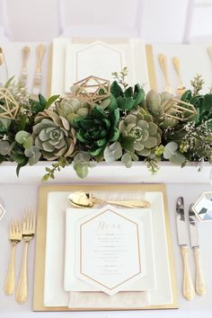 Wedding Place Setting with Succulents Centrepiece - A Geometric Vogue Wedding Sh. Wedding Place Setting with Succulents Centrepiece - A Geometric Vogue Wedding Shoot Botanical Wedding, Floral Wedding, Wedding Flowers, Olive Wedding, Gold Wedding, Vogue Wedding, Wedding Shoot, Wedding Ceremony, Wedding Trends