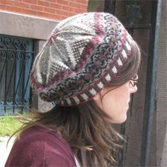 Fairmount Fibers Ltd. free pattern:Fair Isle Tam. This intricate fair isle tam is knit using 5 colors of Manos del Uruguay Silk Blend. A joy to knit for anyone who enjoys fair isle. This project looks great in variety of colorways, so be creative!
