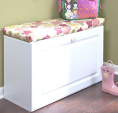 DIY Entry way Bench made from kitchen cabinet turned on its side , smart idea. Could also put at end of kids' beds.