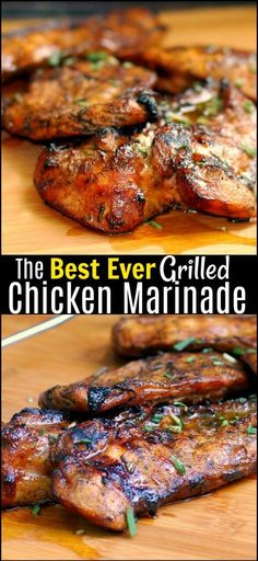 The Best EVER Grilled Chicken Marinade I have ever tried and i am a MARINADE SNOB! The combination of the vinegar, brown sugar, mustard and fresh herbs give it the most unreal juicy flavor! We love to (Grilling Recipes Marinade) Marinade Sauce, Grilled Meat, Grilled Chicken Breast Recipes, Summer Chicken Recipes, Grilled Chicken Seasoning, Barbeque Chicken Recipes, Grilled Chicken Marinades, Marinated Chicken Recipes, Beef Recipes