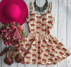 Brown Floral Little Bear Print Pleated Condole Belt Mini Dress Mini Dresses For Women, Bear Print, Brown Floral, Cheap Dresses, Women's Fashion Dresses, Ideias Fashion, Two Piece Skirt Set, Stylish, Womens Fashion