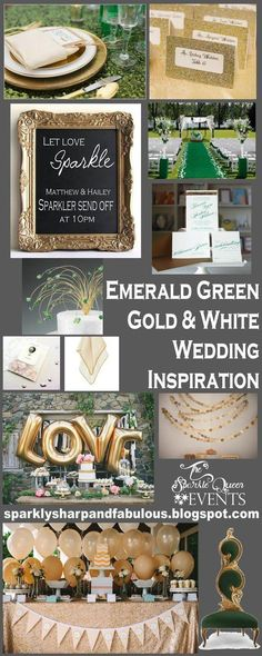 Emerald Green, Gold and White Wedding Inspiration {with a touch of sequins}.....This would make a beautiful dinner party theme as well!