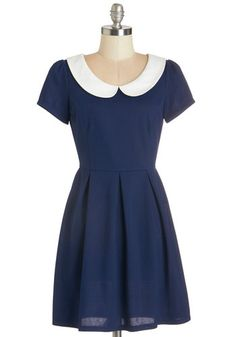 Record Time Dress in Navy - Blue, White, Exclusives, Variation, Solid, Peter Pan Collar, Work, Casual, Vintage Inspired, 60s, A-line, Short Sleeves, Woven, Good, Collared, Short, Exposed zipper
