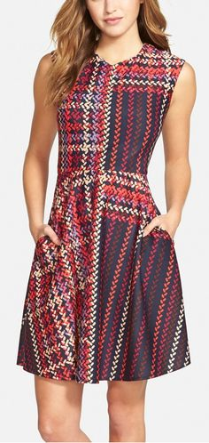 print round neck fit and flare dress