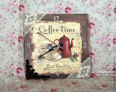 Часики Кофе тайм - коричневый,часы декупаж,часы для кухни,часы настенные